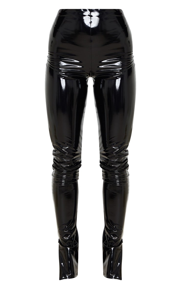 Black Vinyl Split Hem Skinny Trousers 3