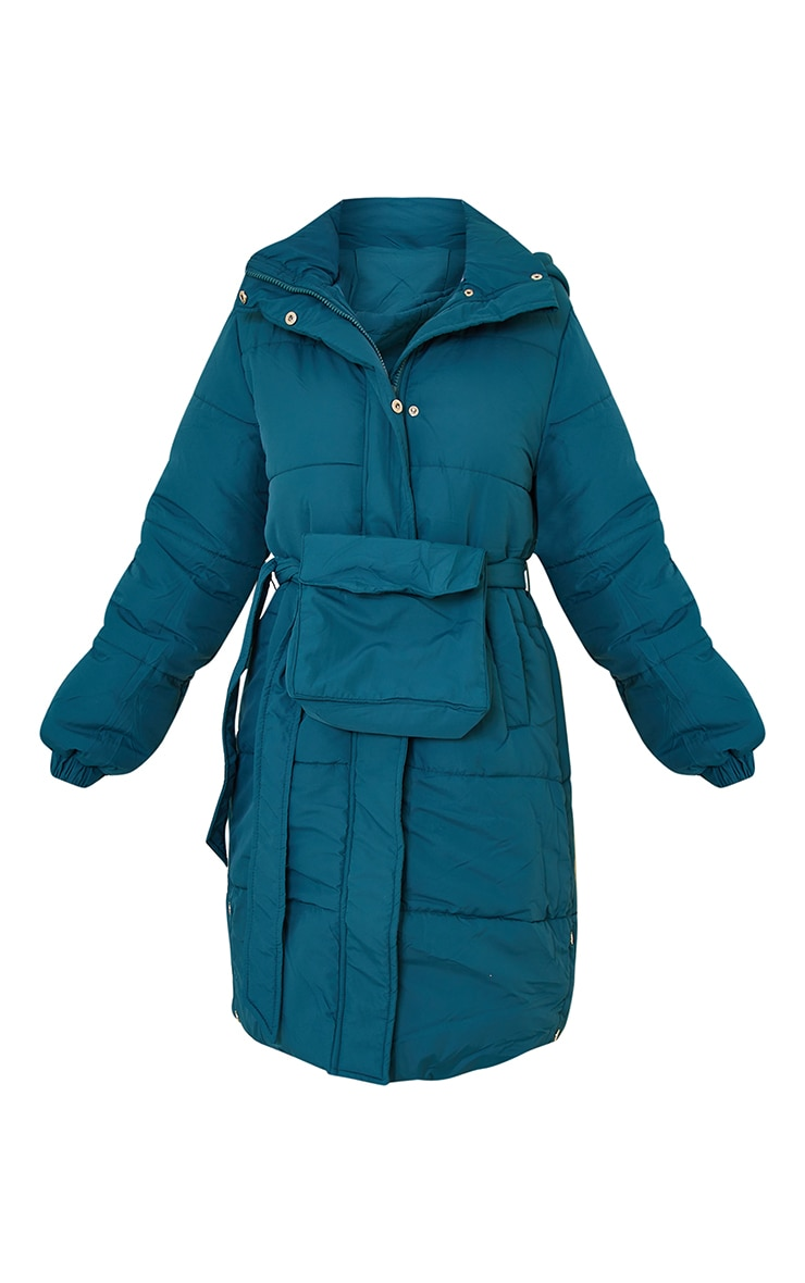 Teal Nylon Fanny Pack Hooded Panel Midi Puffer Jacket 5