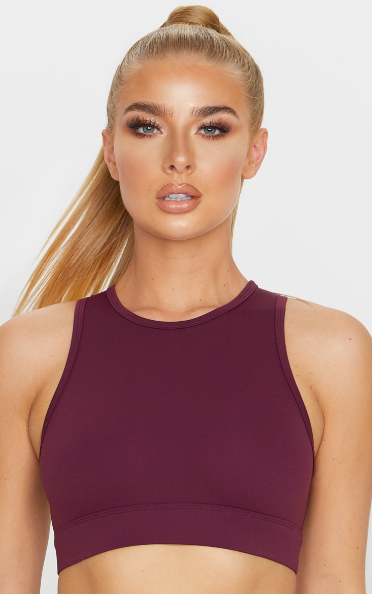 Berry Sculpt Luxe Racer Neck Sports Crop Top 5