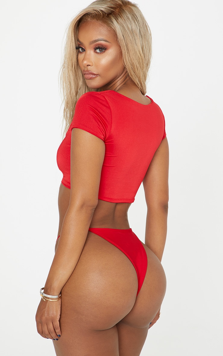 Shape Red Strappy Thong Bikini Bottom 2