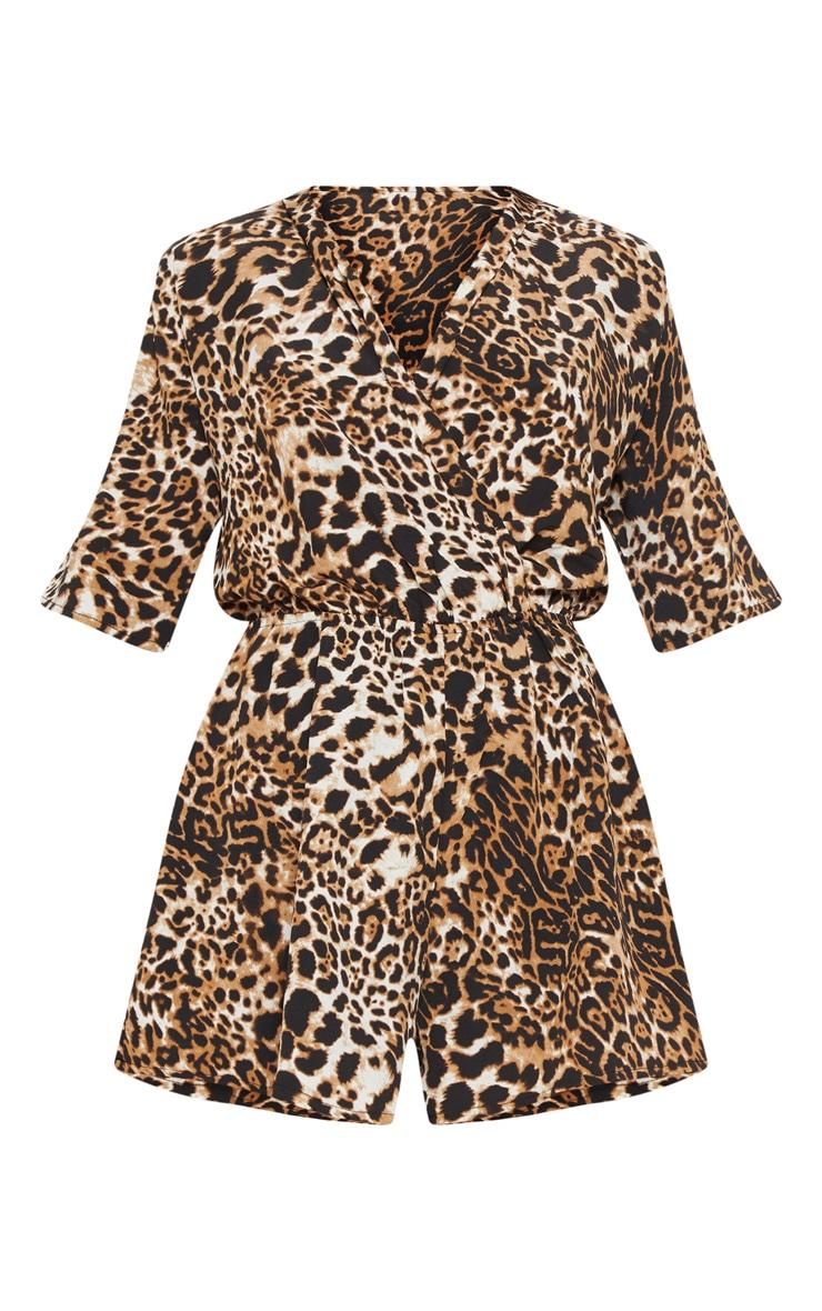 Tan Leopard Print Wrap Front Playsuit 3