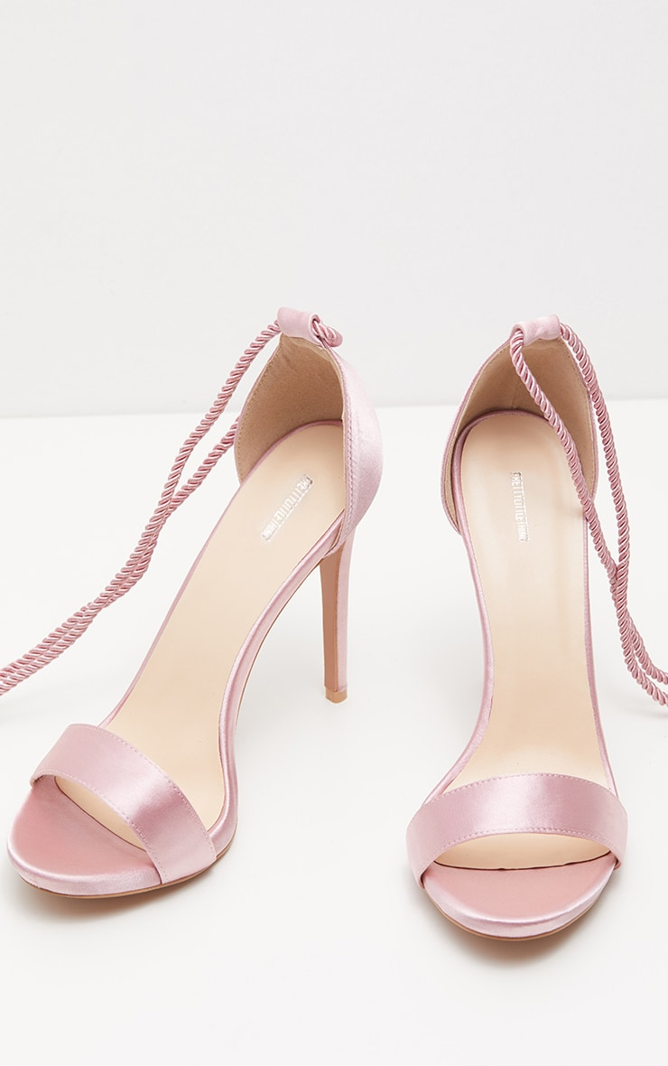 Blush Heeled Rope Tie Strappy Sandal 3