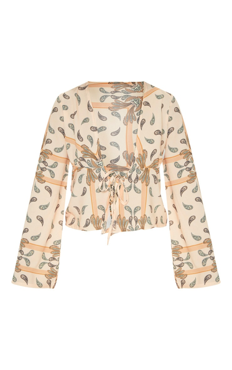 Beige Paisley Printed Chiffon Plunge Tie Front Blouse 3