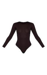 Basic Chocolate Crew Neck Long Sleeve Bodysuit 5