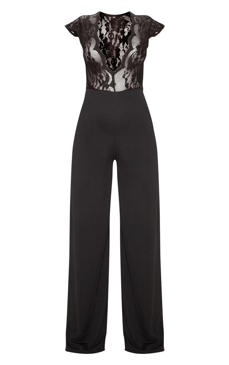 Black Lace Cap Sleeve Wide Leg Jumpsuit 3