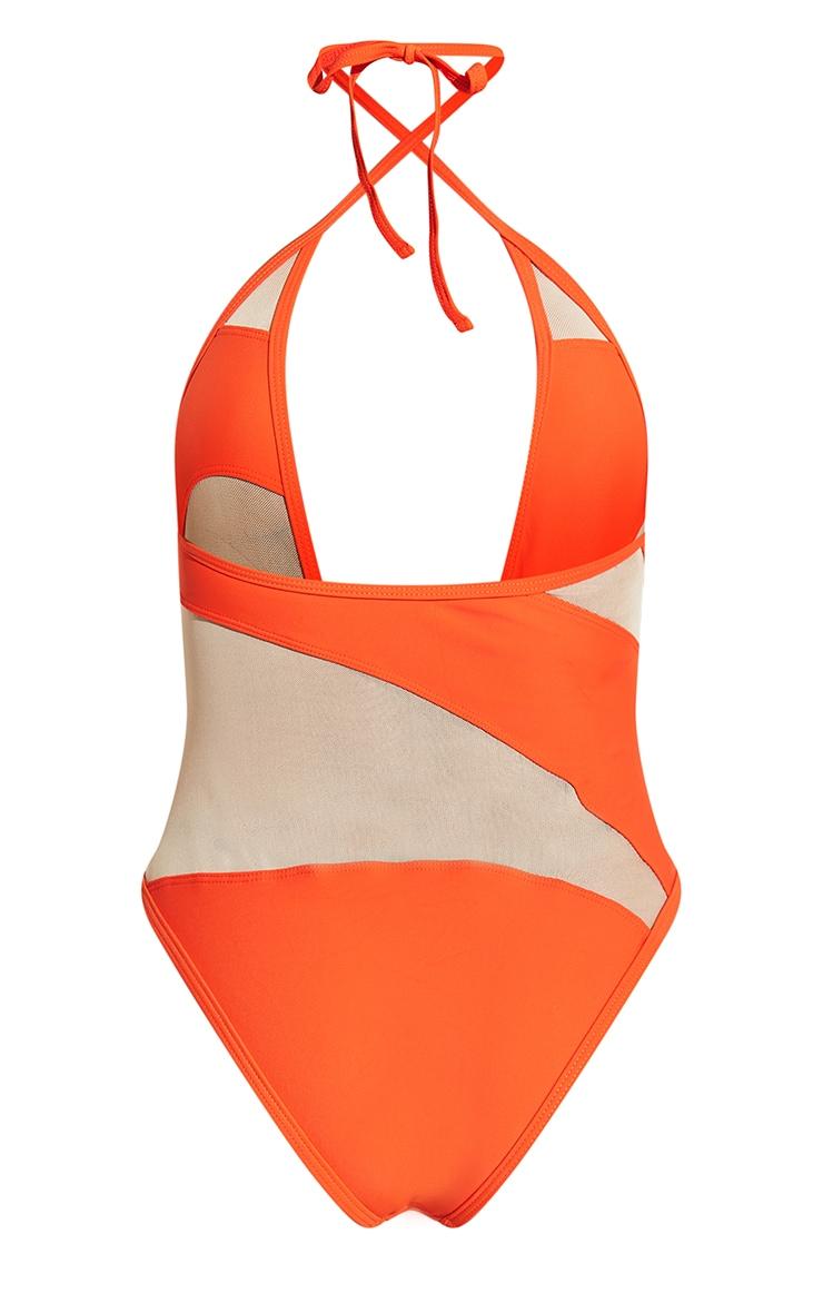 Orange Mesh Panel Plunge Swimsuit 9
