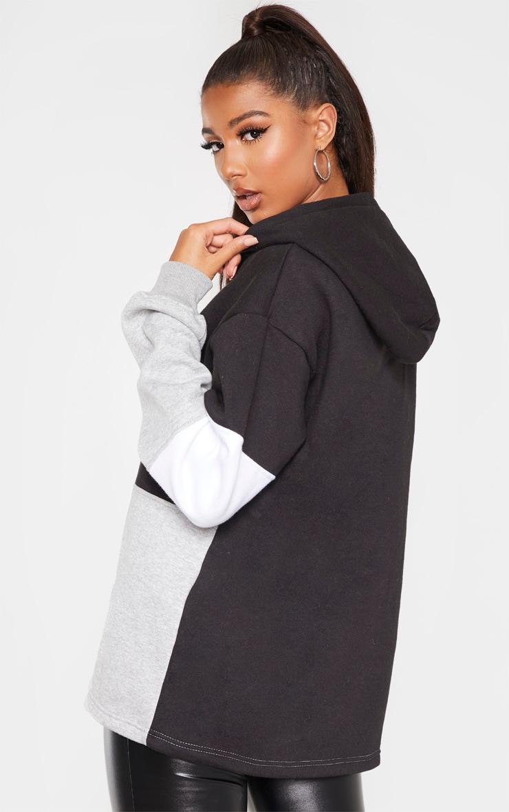 Black Contrast Panel Oversized Zip Hoodie 2