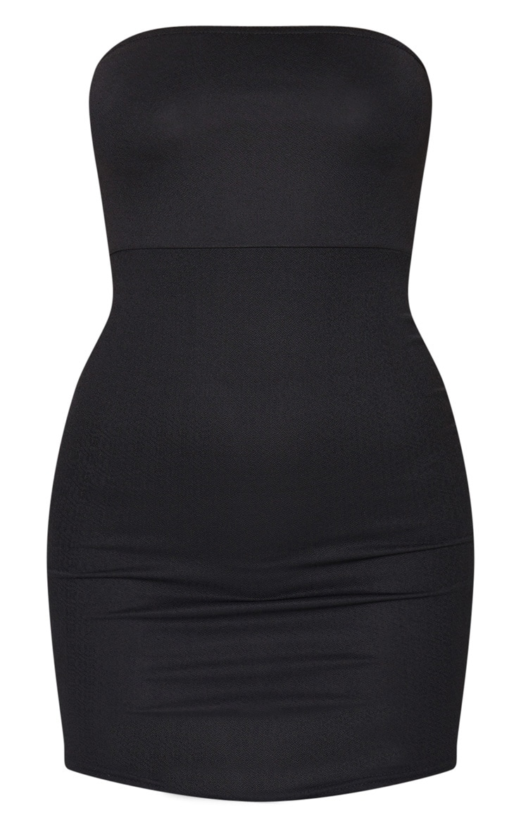 Black Bandeau Pointy Hem Bodycon Dress 6