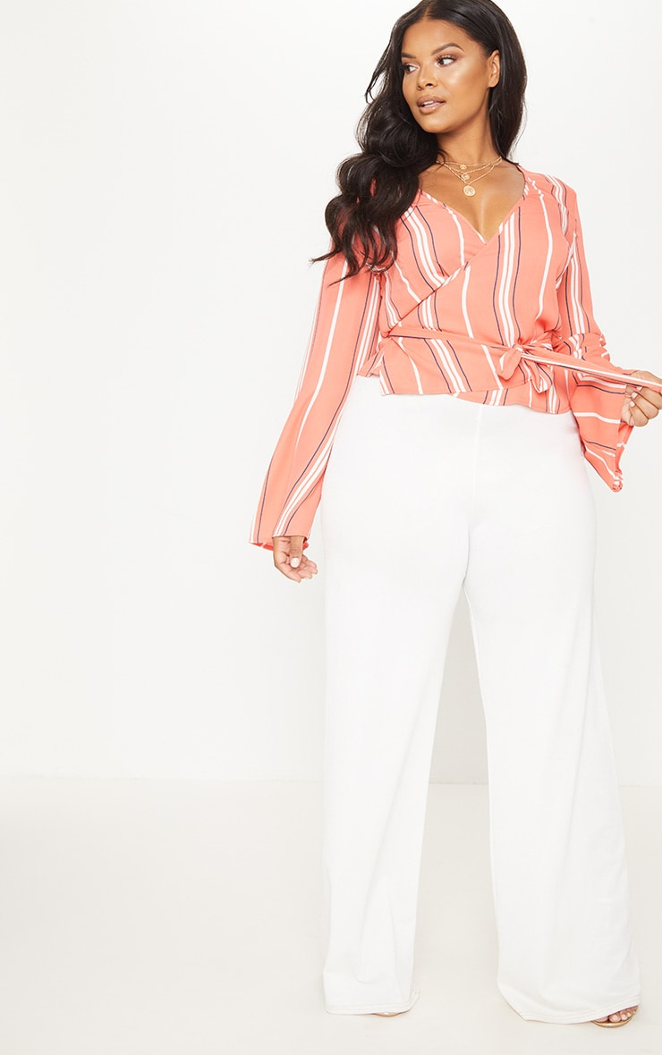 Plus Coral Stripe Wrap Chiffon Top 4