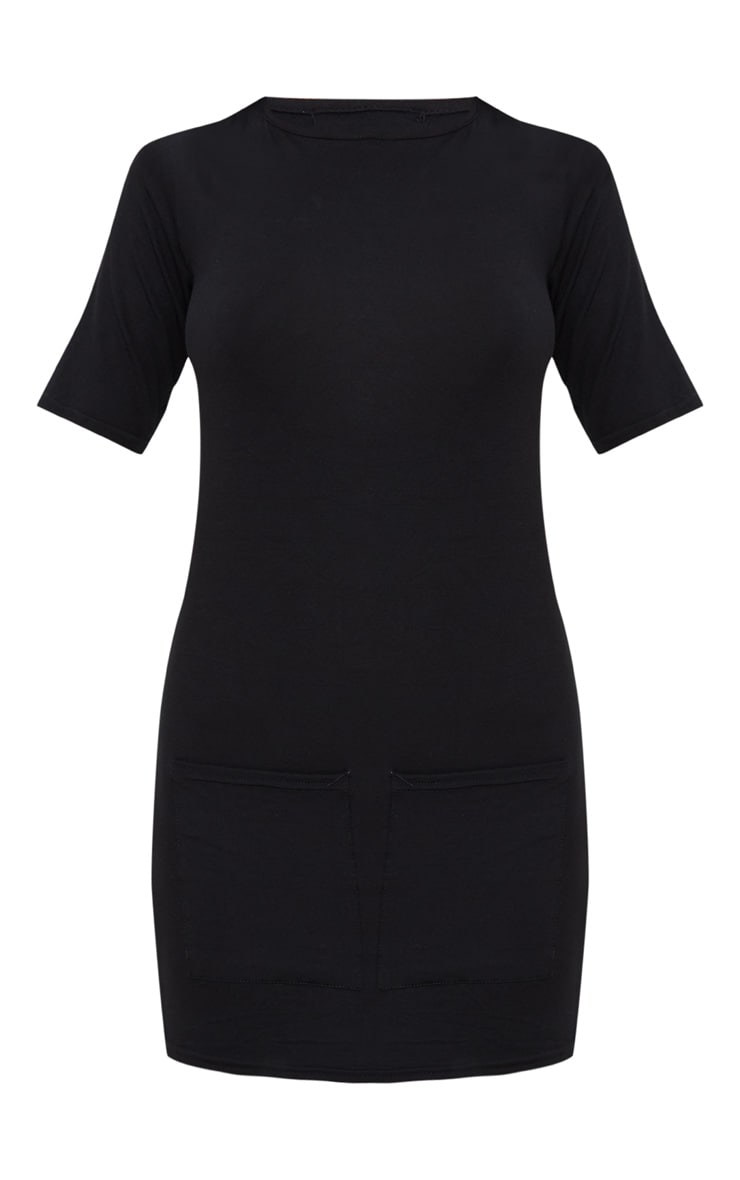 Basic Black Pocket Detail T Shirt Dress 3