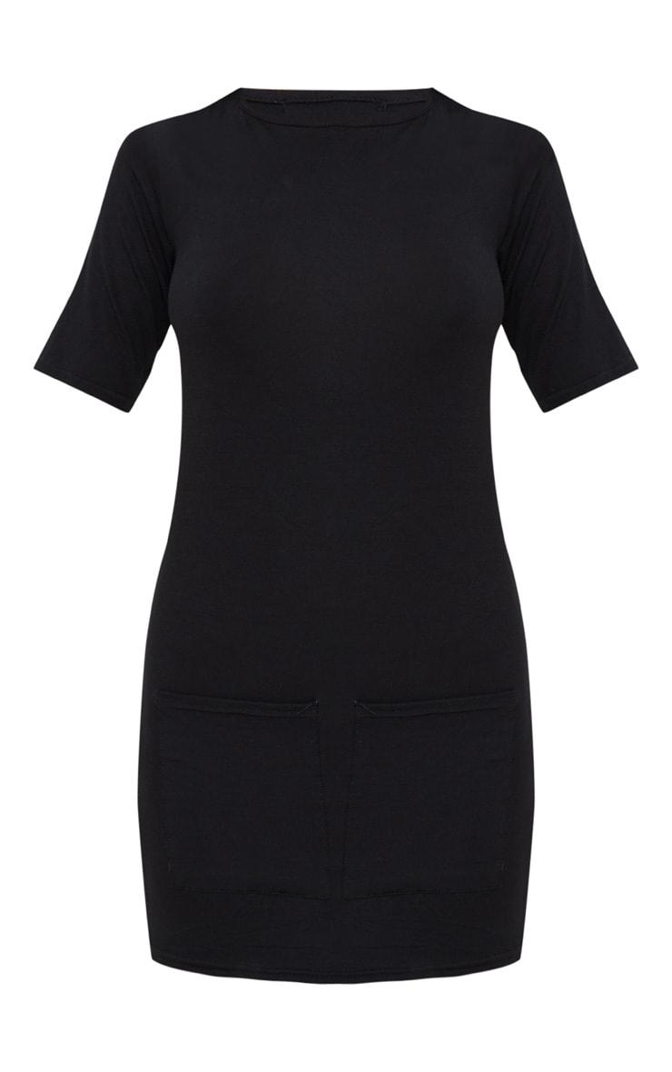 Robe t-shirt noire à détail poches 3
