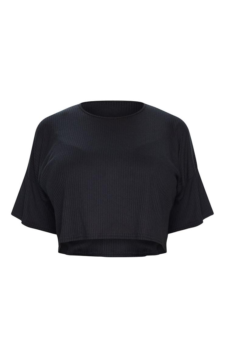 PLT Plus - Tee-shirt court oversize en maille côtelée douce noire 5