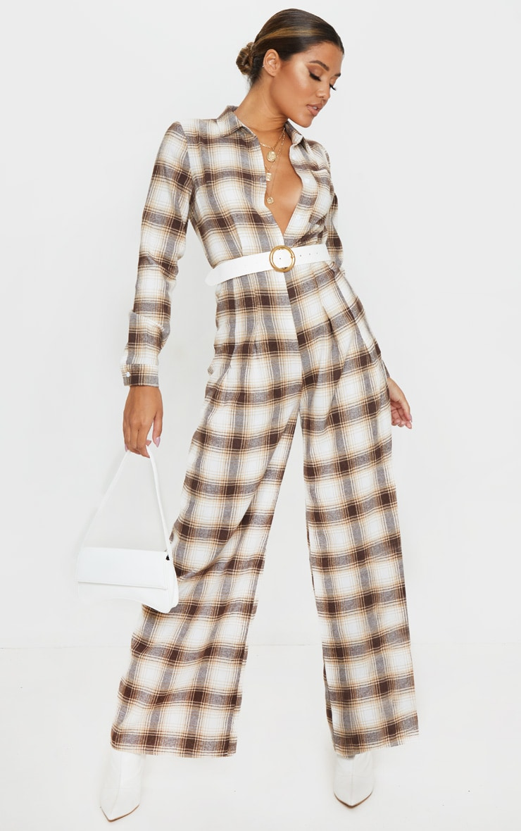 Beige Checked Oversized Wide Leg Jumpsuit 1
