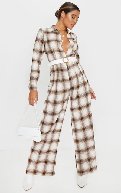 Beige Checked Oversized Wide Leg Jumpsuit