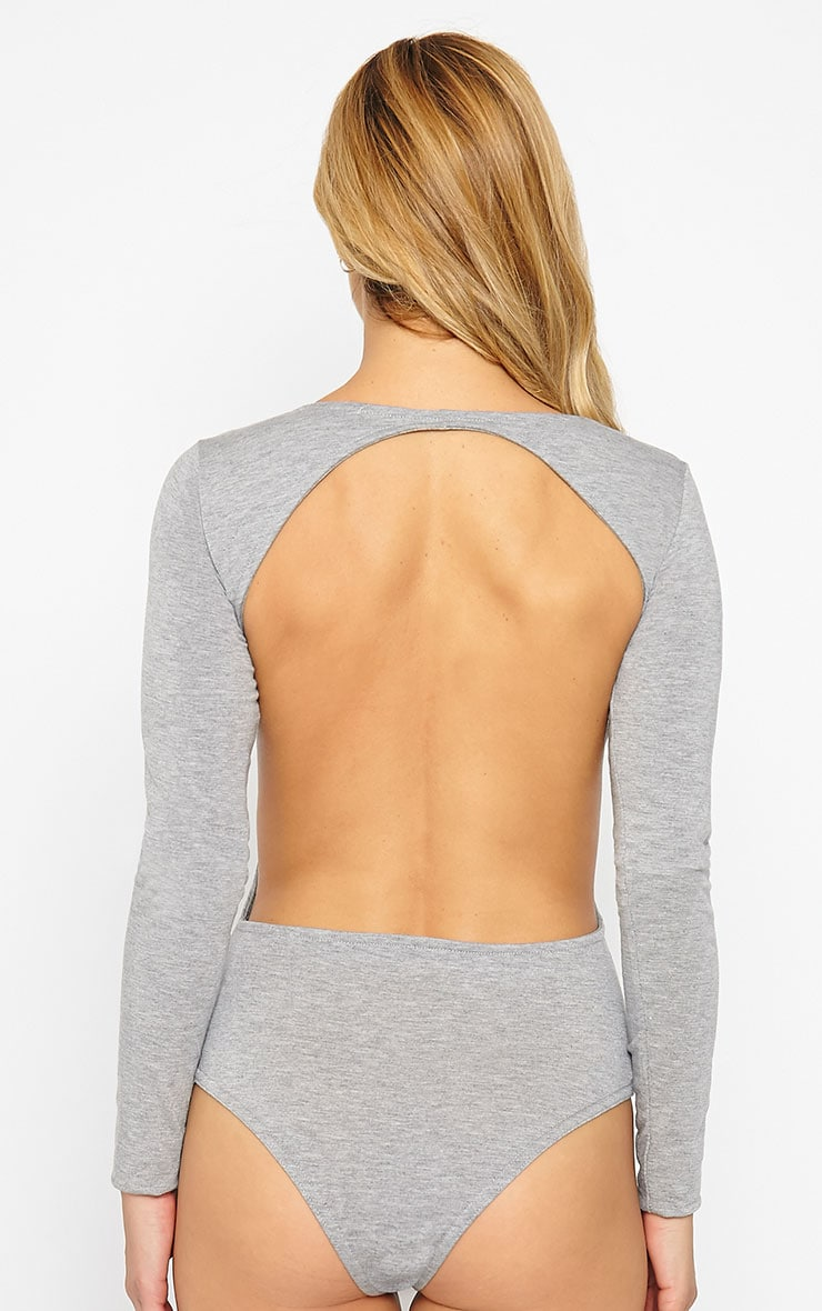 Basic Grey Backless Jersey Bodysuit 6
