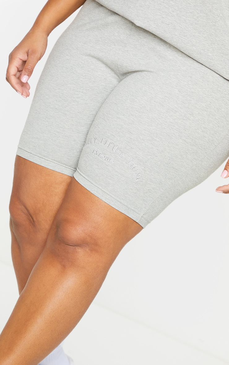 Plus Grey Embroidered Oversized Cycle Shorts 5