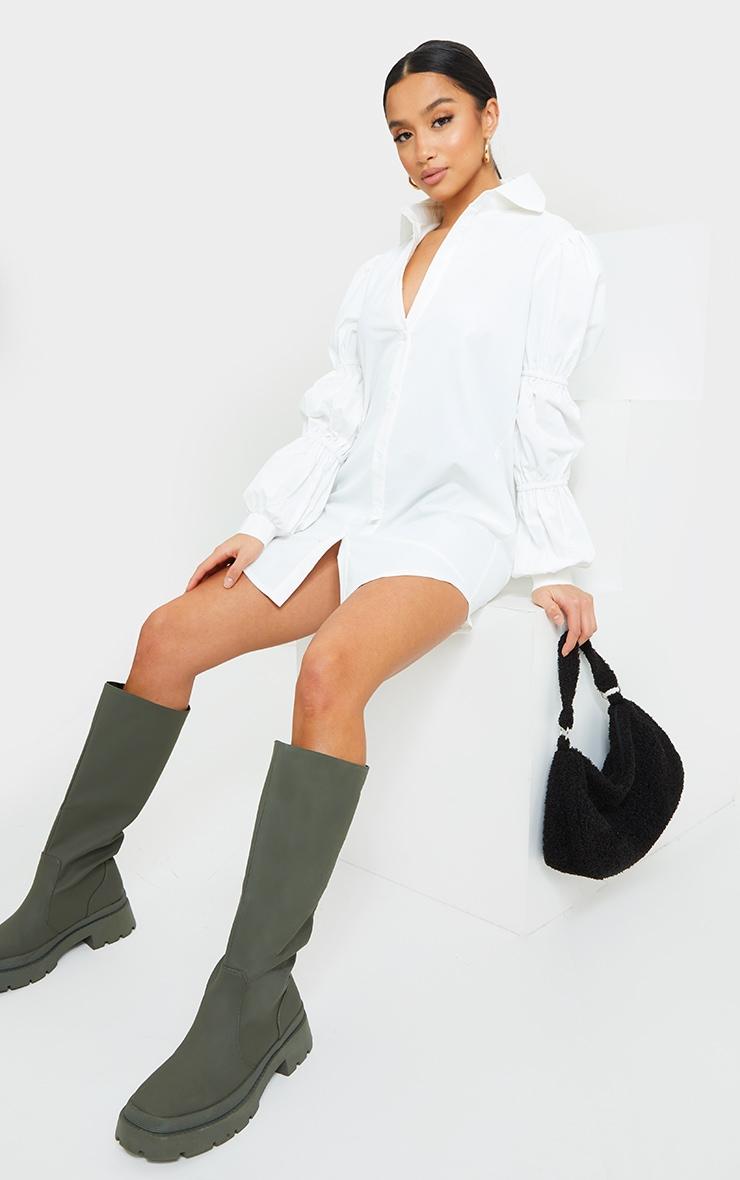 Petite White Ruched Sleeve Oversized Shirt Dress 3