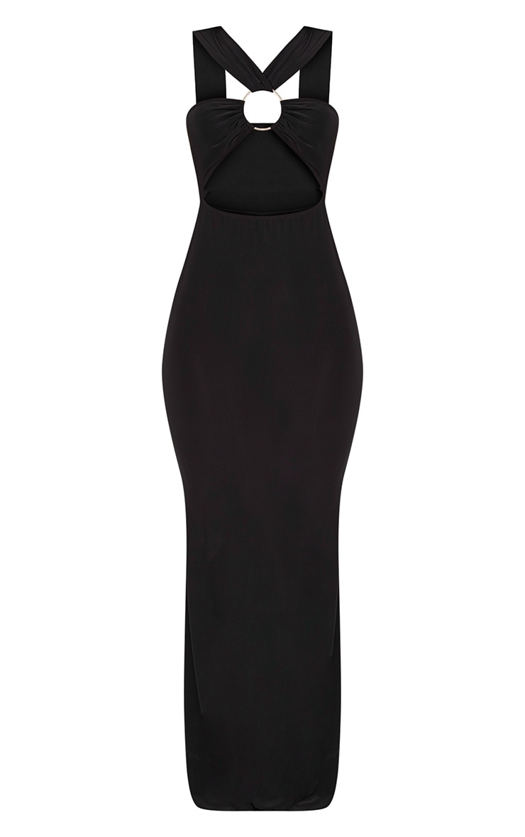 Black Cross Strap Cut Out Ring Detail Maxi Dress  3