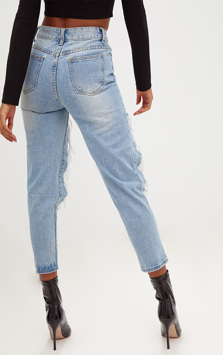 Light Wash Extreme Open Thigh Straight Leg Jean 4