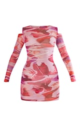 Pink Abstract Print Mesh Lettuce Edge Cold Shoulder Bodycon Dress 5