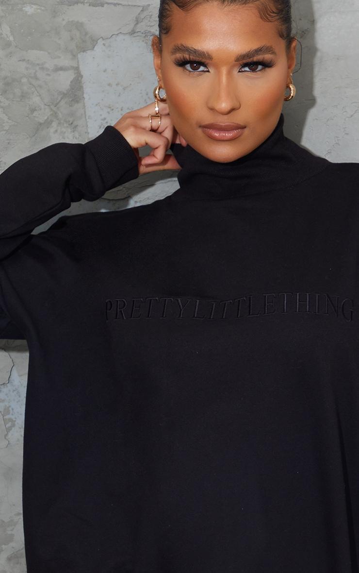 PRETTYLITTLETHING Black Embroidered High Neck Oversized Sweatshirt 4
