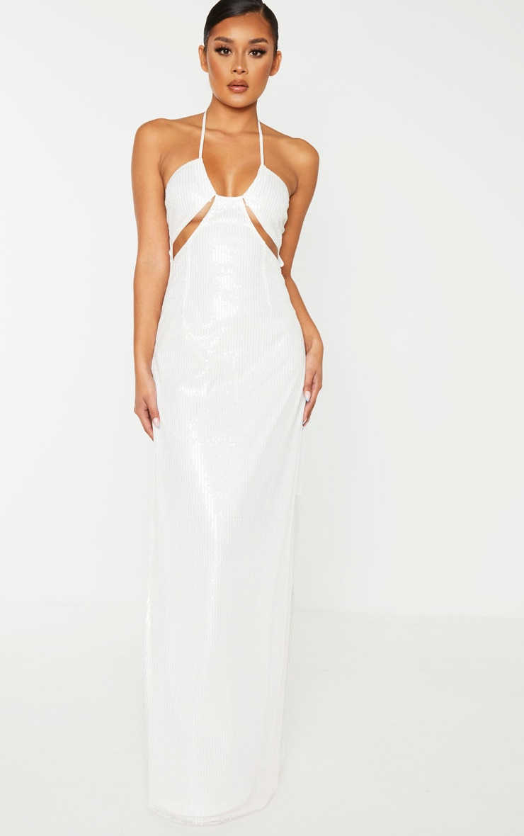 White Sequin Cut Out Detail Halterneck Maxi Dress  1