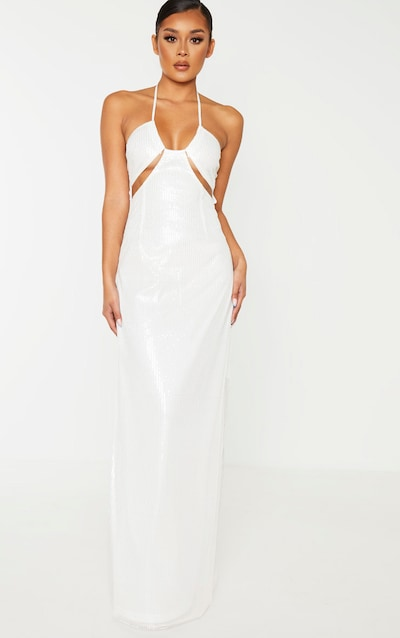 White Sequin Cut Out Detail Halterneck Maxi Dress