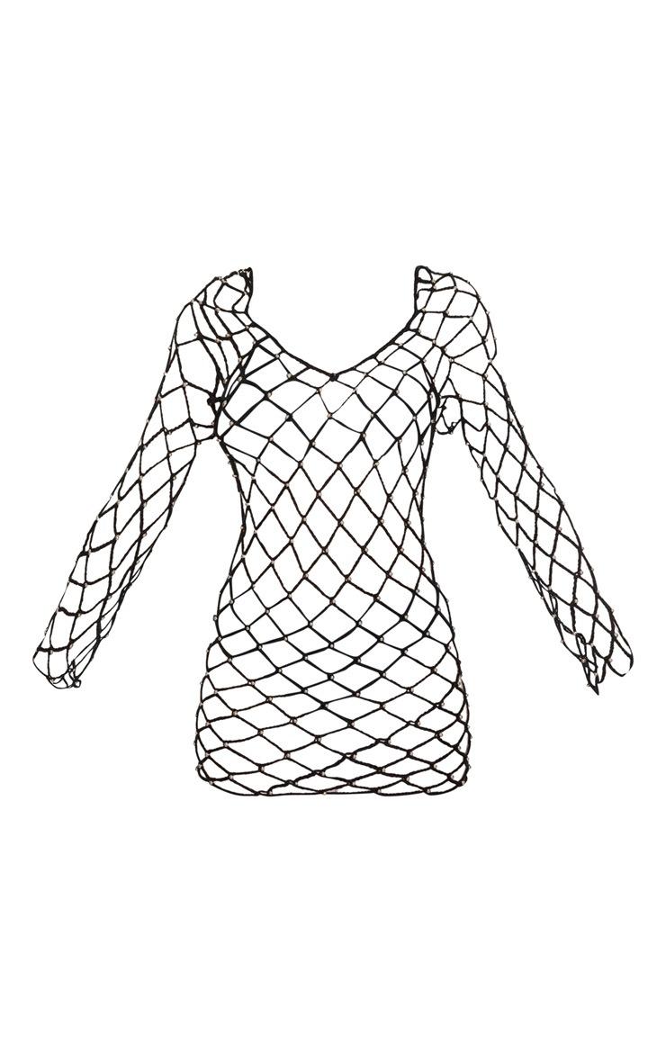 Black Crochet Beaded Long Sleeve Dress 3