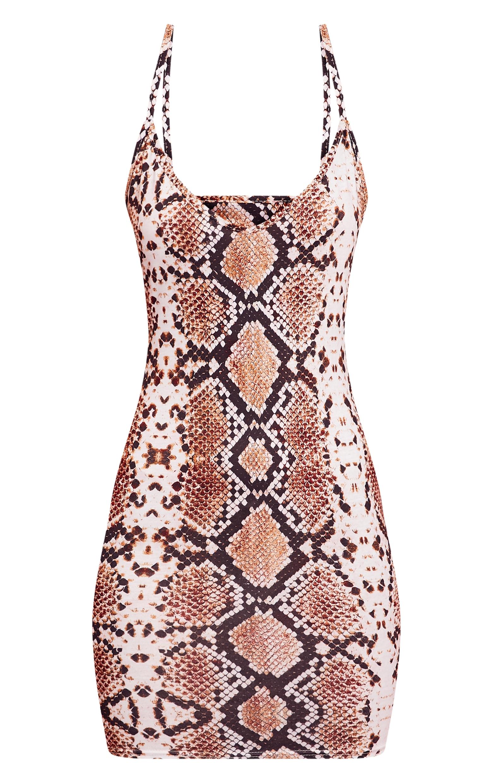 Snake Print Strappy Plunge Bodycon Dress 3