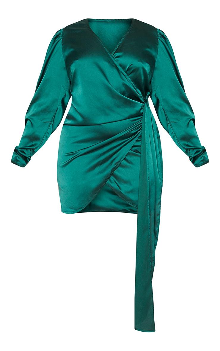 Plus Emerald Green Satin Puff Sleeve Wrap Dress 5