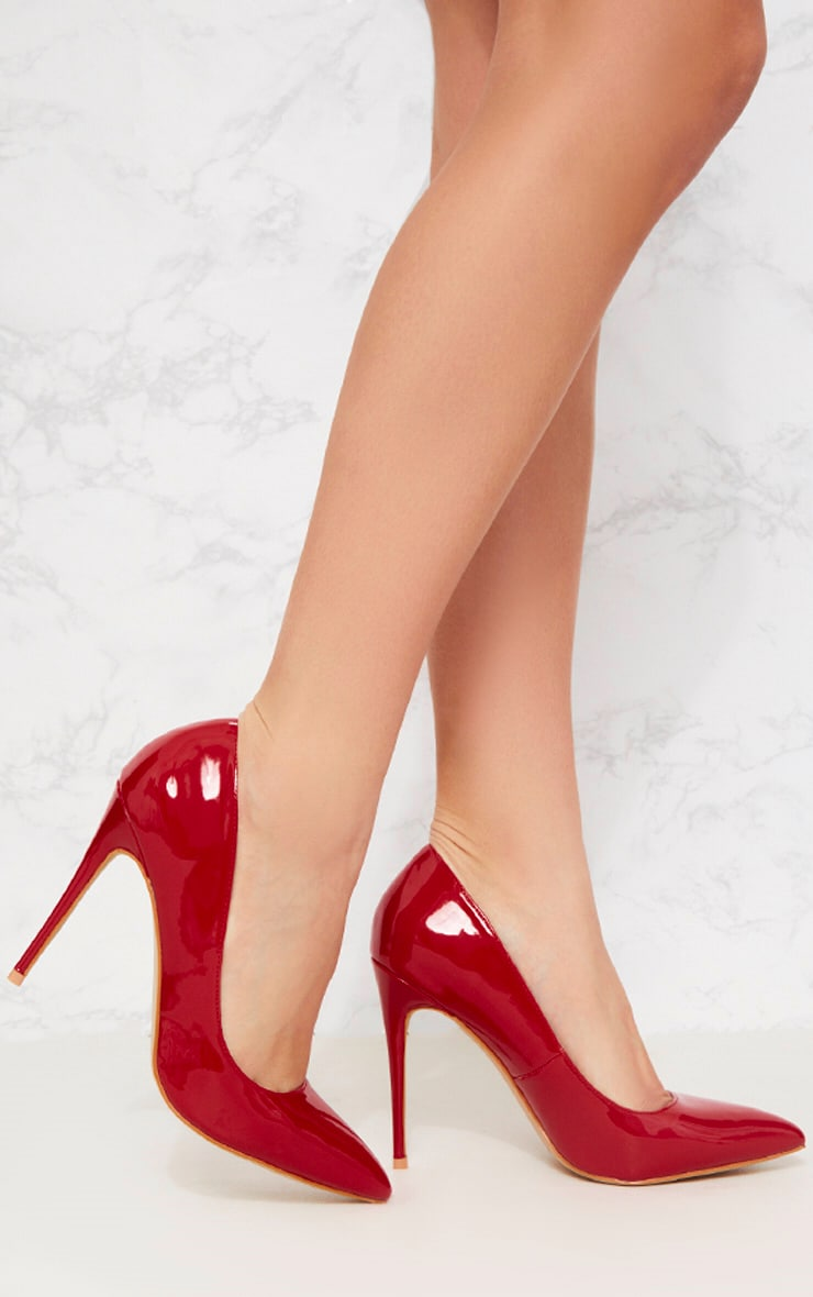 Red Patent Court Shoe 1