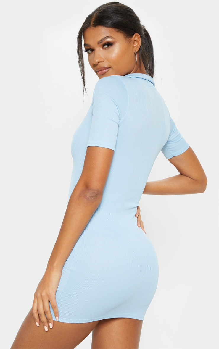 Baby Blue Ribbed Polo Shift Dress 2
