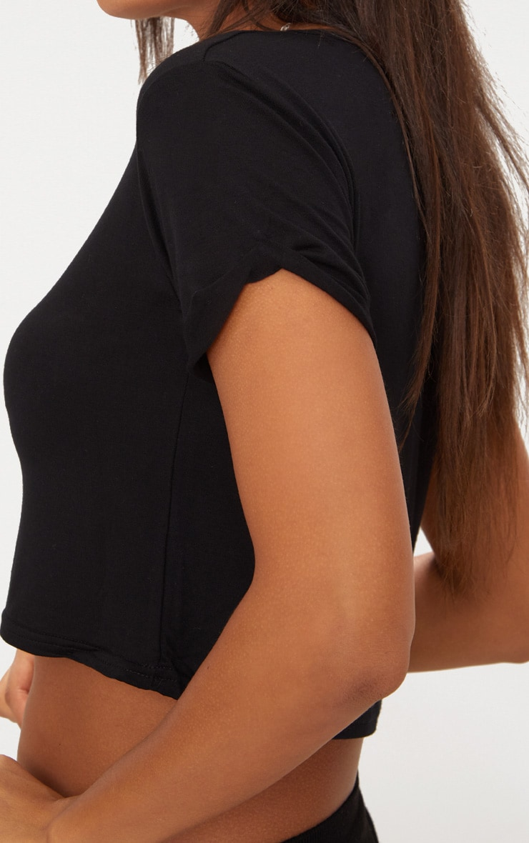 Basic Black Roll Sleeve Crop T Shirt 5