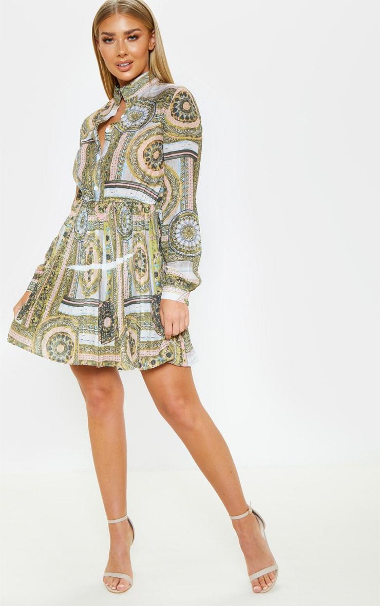 Multi Chain Print Pleated Shirt Dress 3