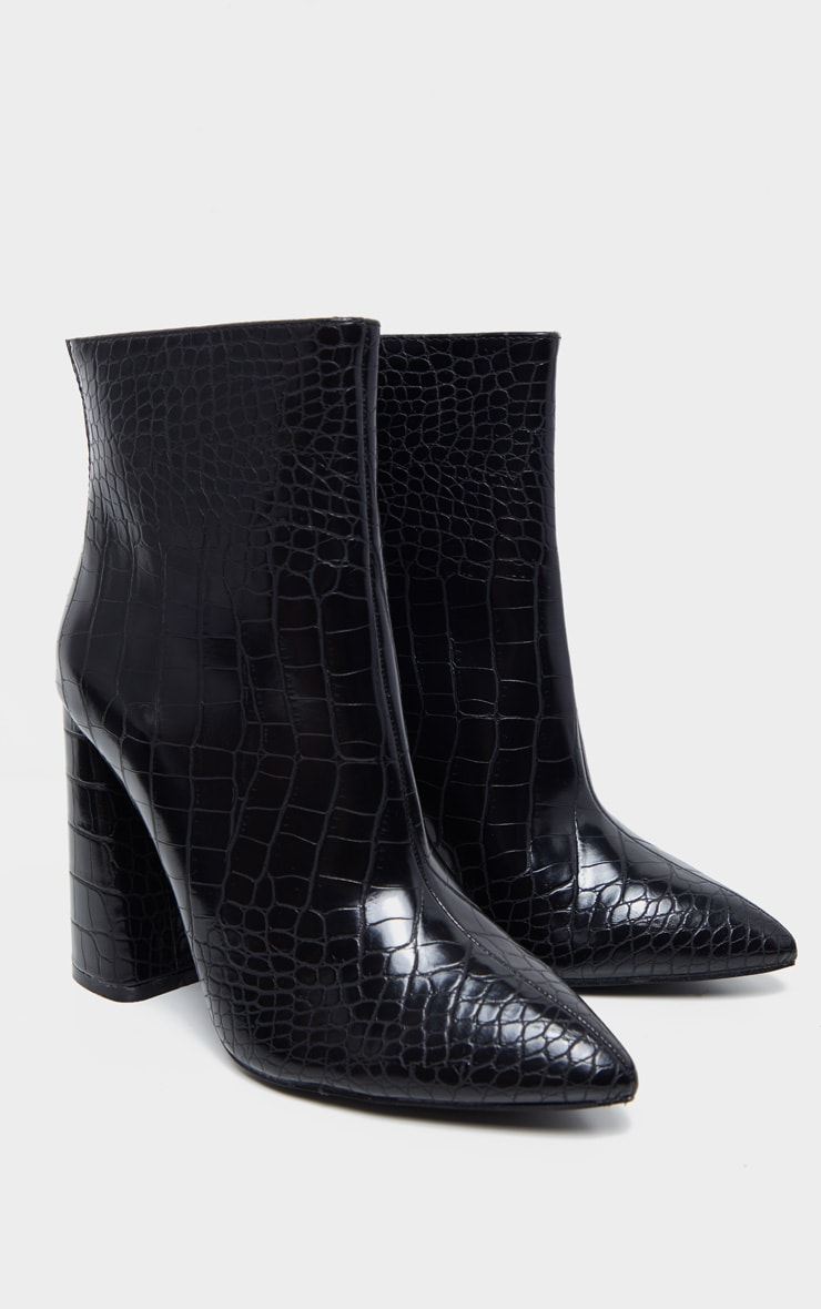 Black Croc Wide Fit Block Heel High Ankle Boot 4