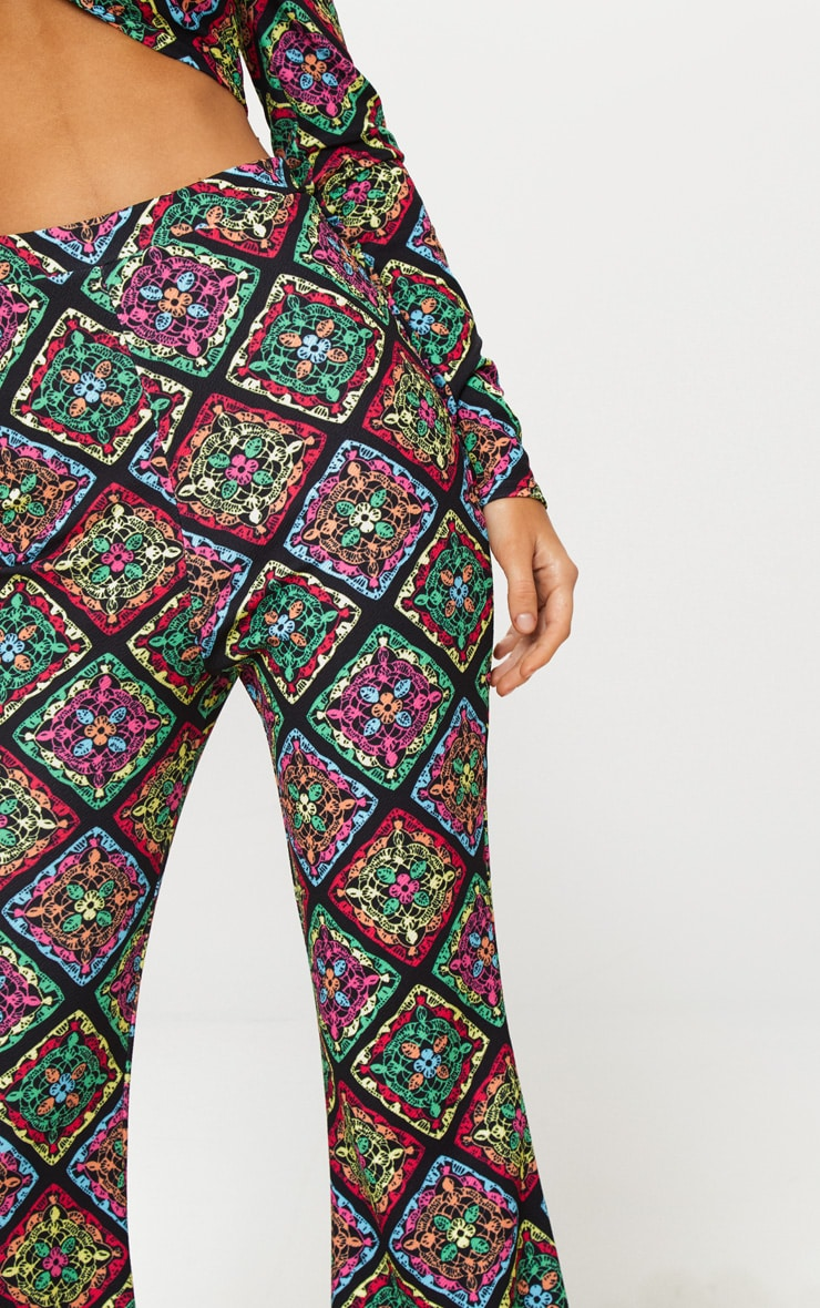 Multi Printed Crochet Flared Trousers 5