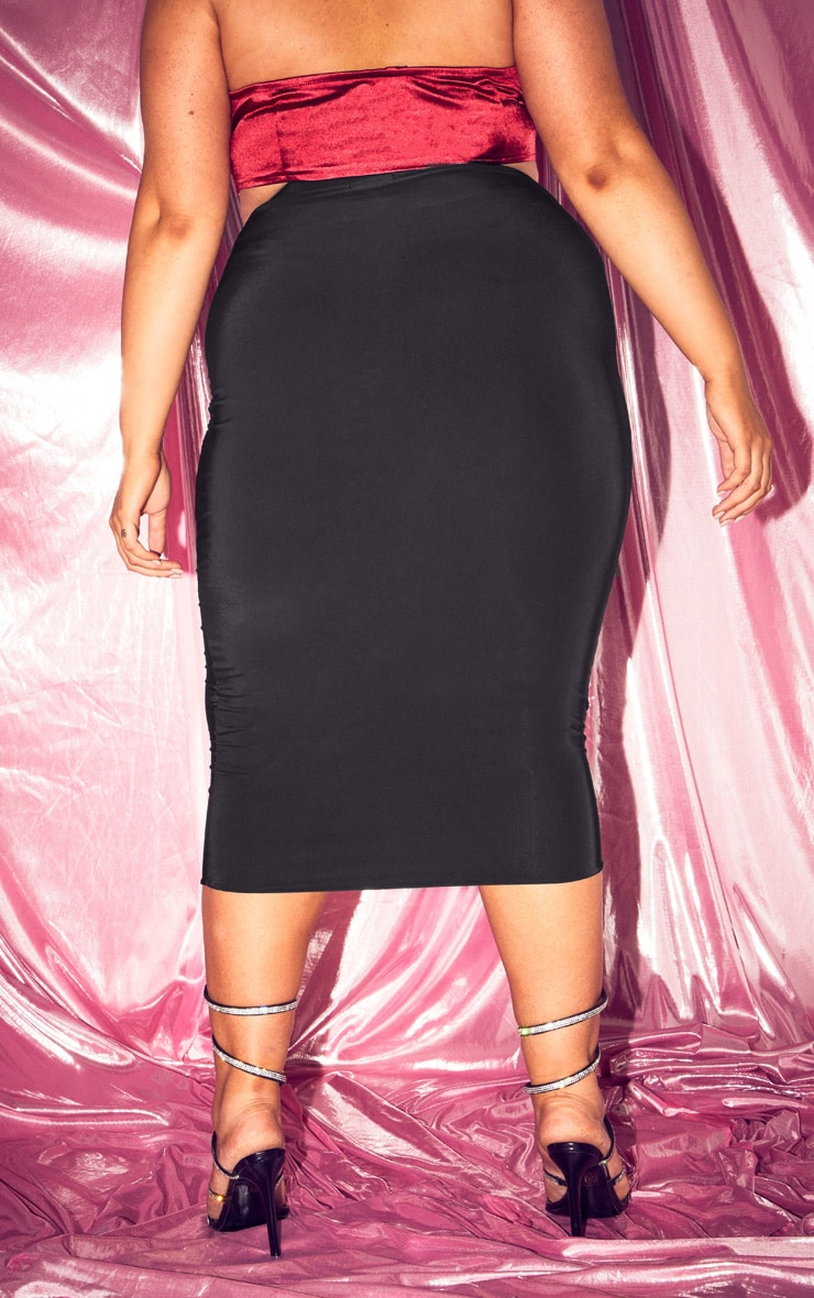 Plus Black Slinky Midi Skirt 2