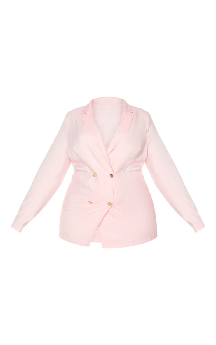 Plus Dusty Pink Gold Button Blazer 3