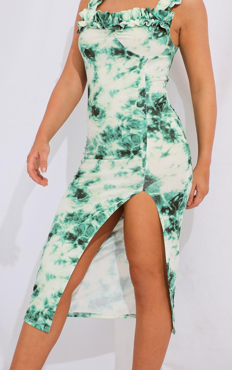 Teal Tie Dye Ruffle Strap Split Front Midi Dress 4