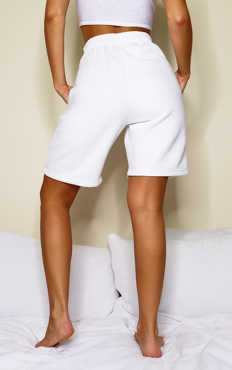 White Drawstring Sweat Longline Shorts 3