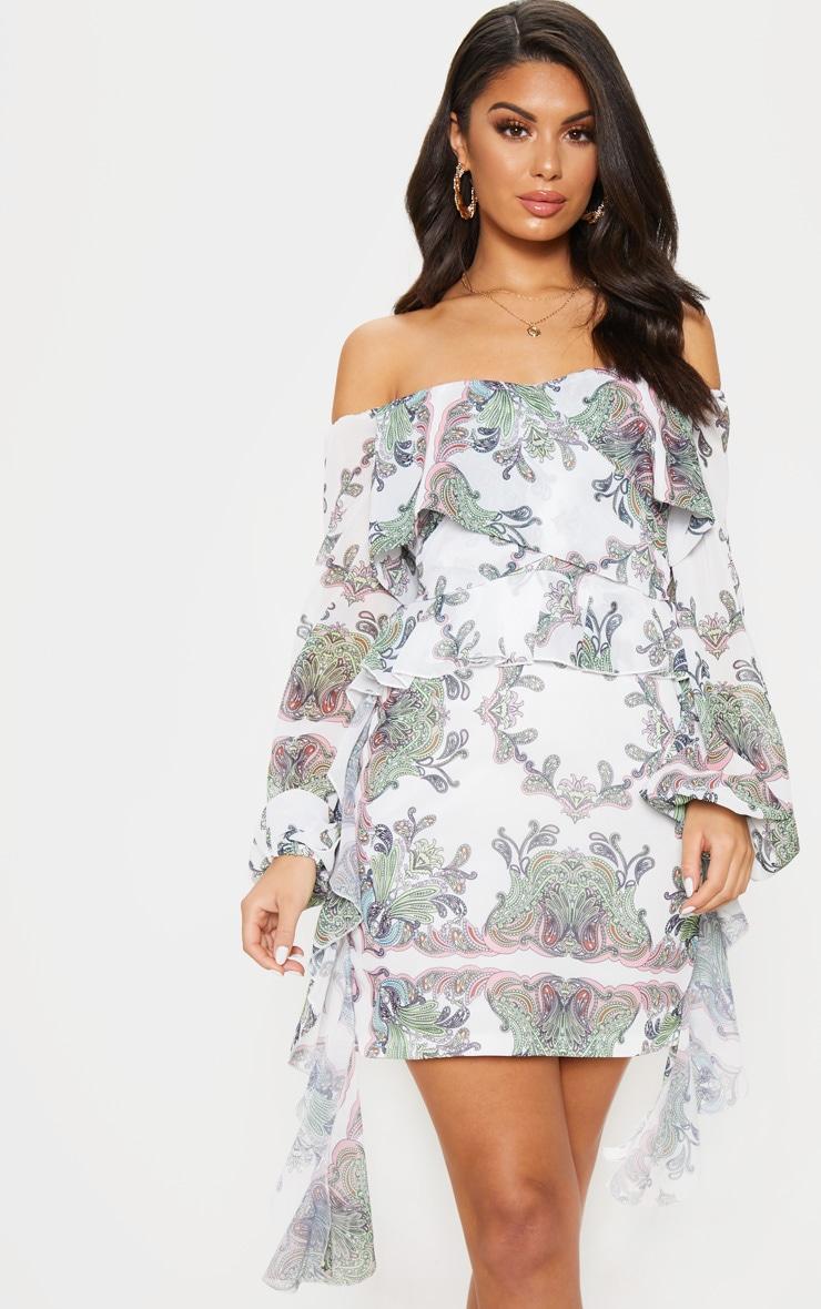 White Paisley Print Bardot Frill Bodycon Dress 1