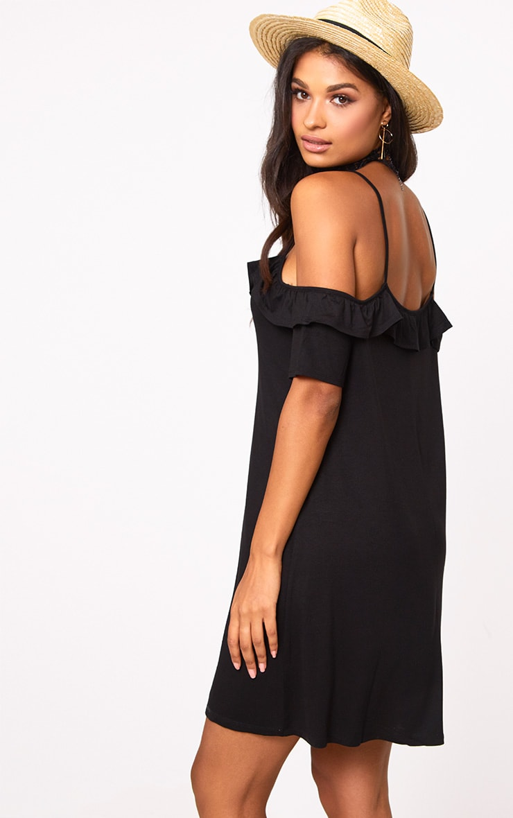 Black Cold Shoulder Shift Dress 2