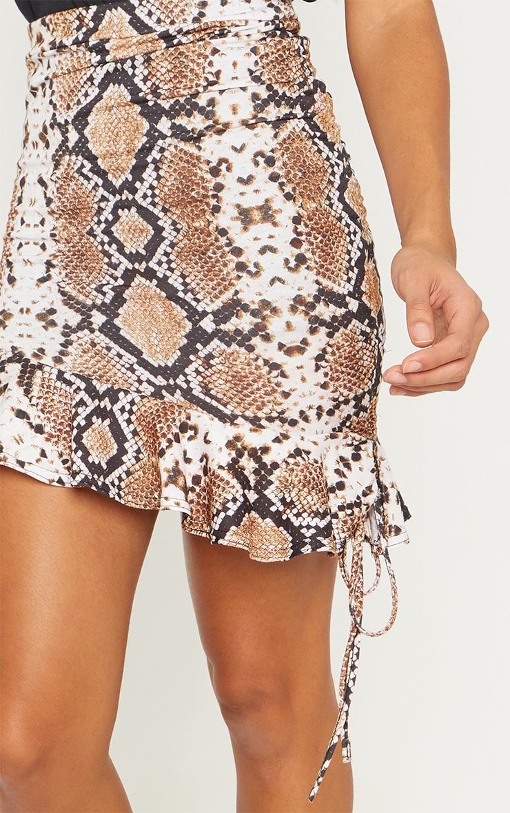 Snake Print Ruched Detail Mini Skirt 7