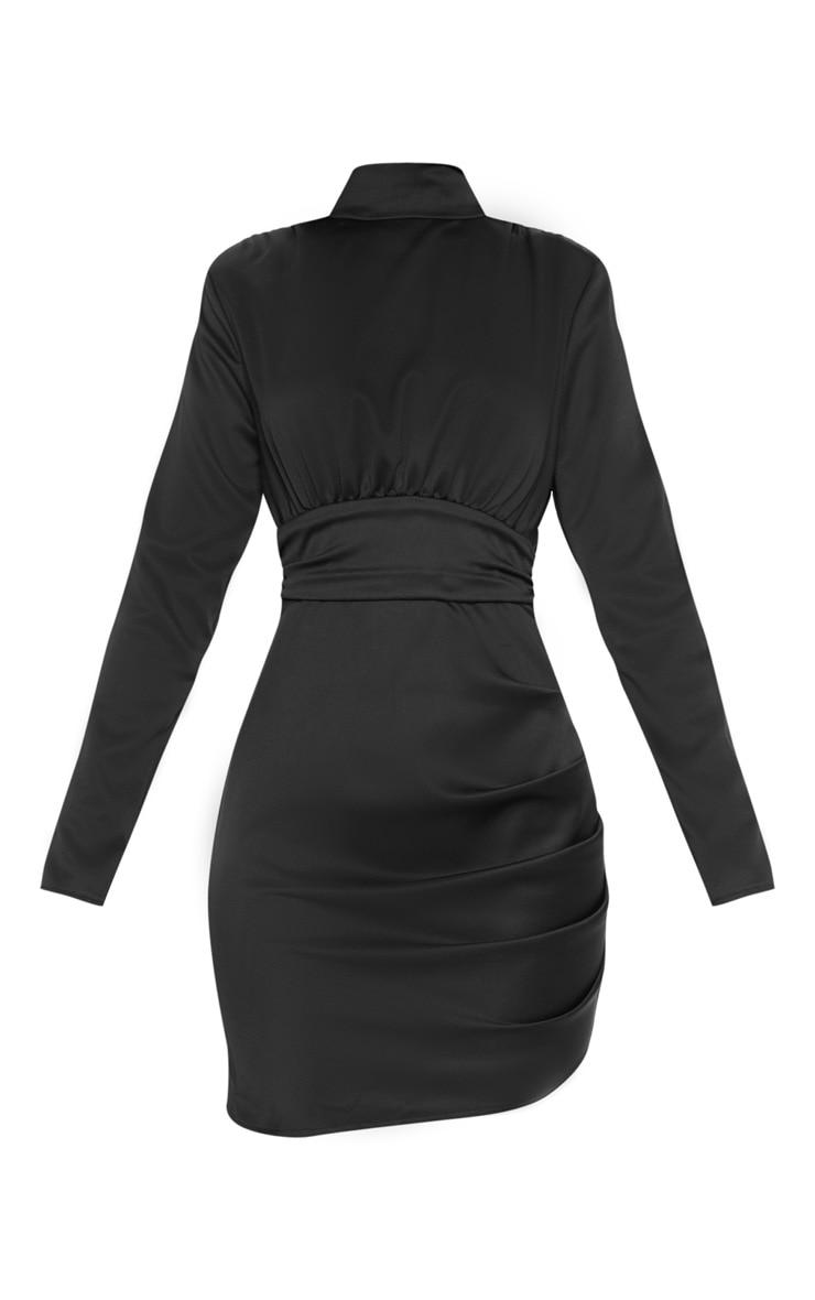 Black Satin High Neck Ruched Shift Dress 3