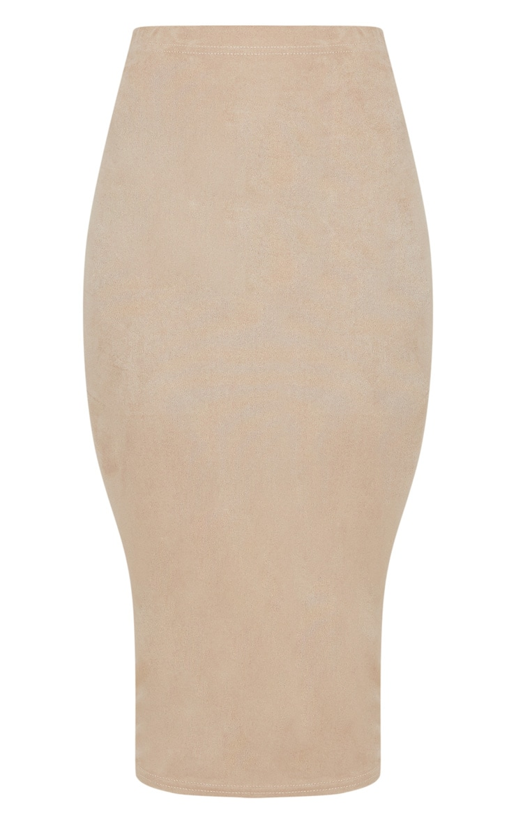 Stone Faux Suede Midi Skirt 3