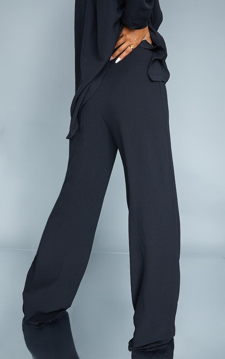 Black Textured Crinkle Wide Leg Pants 3