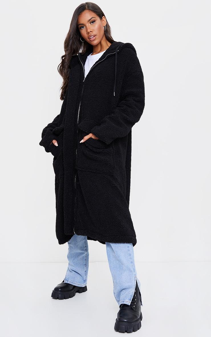 Black Borg Hooded Pocket Front Maxi Parka Coat