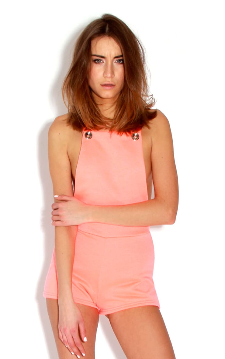 Alexis Neon Orange Playsuit  1