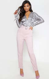 Dusty Pink Belted Tailored Trousers 1