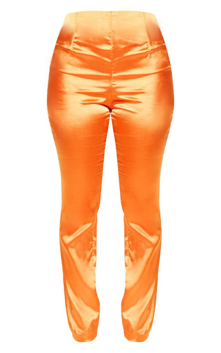 Petite Orange Straight Leg Satin Pants 3